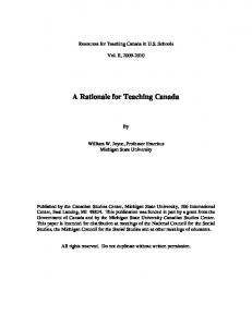 A Rationale for Teaching Canada
