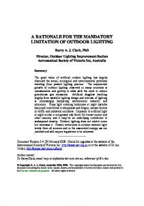 A RATIONALE FOR THE MANDATORY LIMITATION OF OUTDOOR LIGHTING