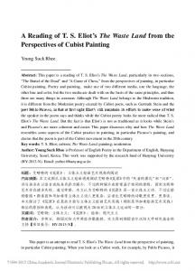 A Reading of T. S. Eliot s The Waste Land from the Perspectives of Cubist Painting