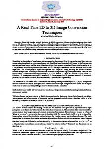 A Real Time 2D to 3D Image Conversion Techniques Miroslav Nikolov Galabov