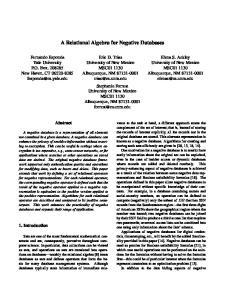 A Relational Algebra for Negative Databases