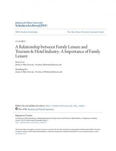 A Relationship between Family Leisure and Tourism & Hotel Industry: A Importance of Family Leisure