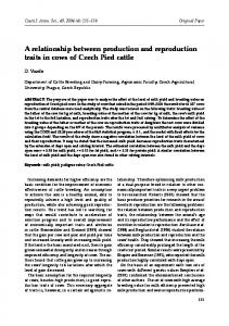A relationship between production and reproduction traits in cows of Czech Pied ca le