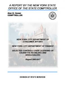 A REPORT BY THE NEW YORK STATE OFFICE OF THE STATE COMPTROLLER