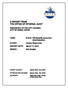 A REPORT FROM THE OFFICE OF INTERNAL AUDIT