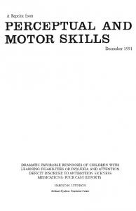 A Reprint from PERCEPTUAL AND MOTOR SKILLS