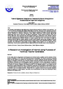 A Research on Investigation of Internet Using Purposes of Technical Teacher Candidates