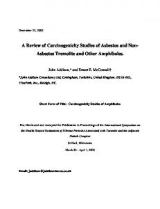 A Review of Carcinogenicity Studies of Asbestos and Non- Asbestos Tremolite and Other Amphiboles