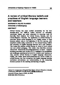A review of critical literacy beliefs and practices of English language learners and teachers