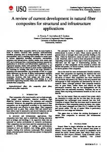 A review of current development in natural fiber composites for structural and infrastructure applications
