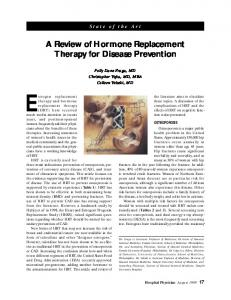 A Review of Hormone Replacement Therapy for Disease Prevention
