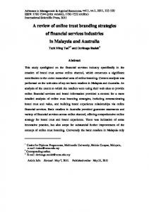 A review of online trust branding strategies of financial services industries in Malaysia and Australia