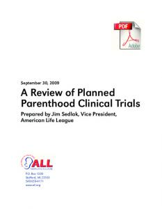 A Review of Planned Parenthood Clinical Trials