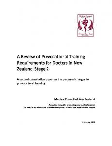 A Review of Prevocational Training Requirements for Doctors in New Zealand: Stage 2