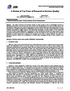 A Review of Ten Years of Research in Services Quality
