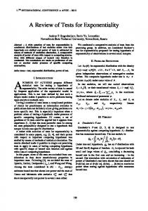 A Review of Tests for Exponentiality