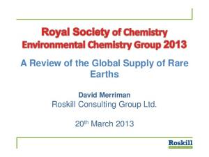 A Review of the Global Supply of Rare Earths
