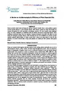 A Review on Antidermatophytic Efficiency of Plant Essential Oils