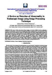 A Review on Detection of Abnormality in Endoscopic Image using Image Processing Technique