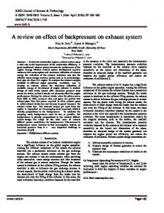 A review on effect of backpressure on exhaust system