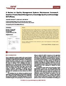 A Review on Quality Management Systems Maintenance Framework based on Process Based Management, Knowledge Quality and Knowledge Self-efficacy