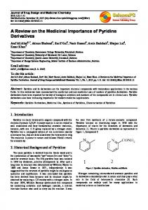 A Review on the Medicinal Importance of Pyridine Derivatives