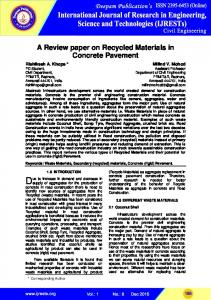 A Review paper on Recycled Materials in Concrete Pavement