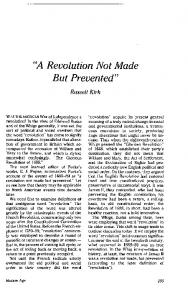 A Revolution Not Made But Prevented