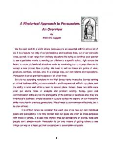 A Rhetorical Approach to Persuasion: An Overview