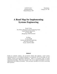 A Road Map for Implementing Systems Engineering