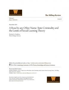 A Rose by any Other Name: State Criminality and the Limits of Social Learning Theory
