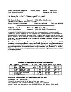A Sample NOAO Telescope Proposal
