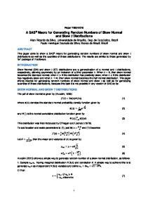 A SAS Macro for Generating Random Numbers of Skew Normal and Skew t Distributions