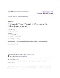 A Season in Town: Plantation Women and the Urban South,