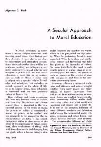 A Secular Approach to Moral Education