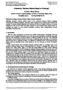 A Semantic Retrieval Method Based on Ontology 1. Qi Shen, Meng Zhang