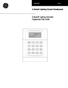 A Series Lighting Controller Programmer User Guide