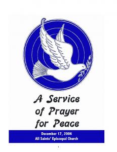 A SERVICE OF PRAYER FOR PEACE WELCOME