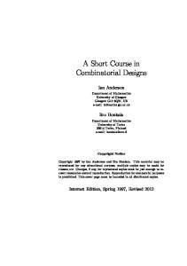 A Short Course in Combinatorial Designs