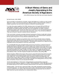 A Short History of Gems and Jewelry Appraising in the American Society of Appraisers