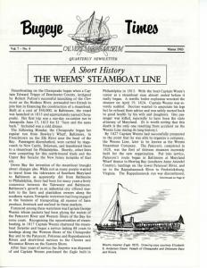 A Short History THE WEEMS' STEAMBOAT LINE