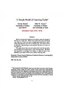 A Simple Model of Learning Styles
