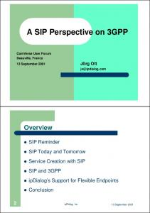 A SIP Perspective on 3GPP
