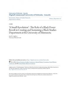 A Small Revolution : The Role of a Black Power Revolt in Creating and Sustaining a Black Studies Department at the University of Minnesota