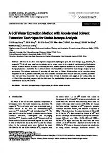 A Soil Water Extraction Method with Accelerated Solvent Extraction Technique for Stable Isotope Analysis