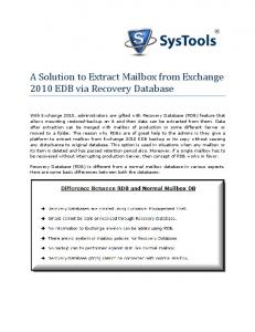 A Solution to Extract Mailbox from Exchange 2010 EDB via Recovery Database