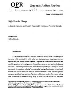 A Sound, Humane, and Fiscally Responsible Marijuana Policy for Canada