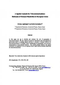 A Spatial Analysis for Telecommunications: Estimates of Demand Elasticities in European Union