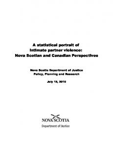 A statistical portrait of intimate partner violence: Nova Scotian and Canadian Perspectives