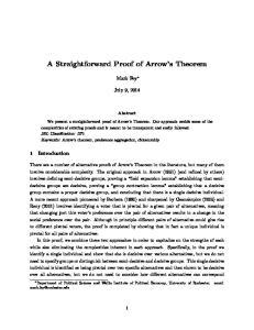 A Straightforward Proof of Arrow s Theorem